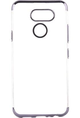Happyshop LG K40S Kılıf 4 Köşe Renkli Şeffaf Laser Silikon+Cam Ekran Koruyucu