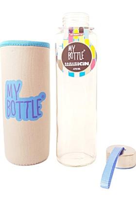 My Bottle Cam Matara 470 ml - Gri Kılıf ve Renkli Yazı Desenli