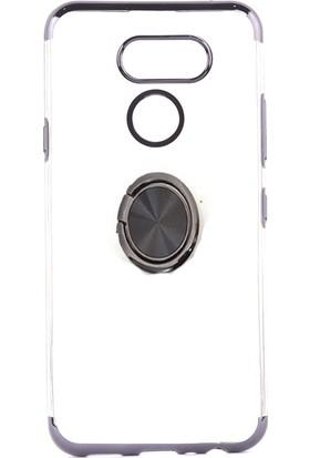 KNY LG K40S Kılıf 4 Köşe Renkli Yüzüklü Manyetik Gess Silikon + Cam Ekran Koruyucu Siyah