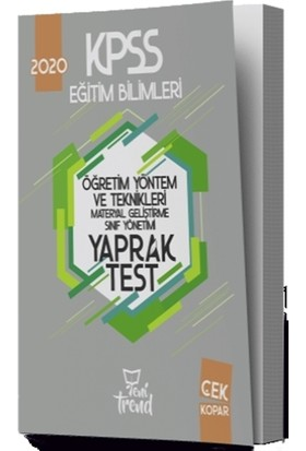 2020 KPSS Eğitim Bilimleri Öğretim Yöntem ve Teknikleri Yaprak Test