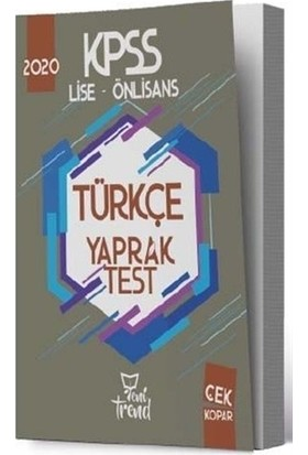 2020 KPSS Lise Önlisans Türkçe Yaprak Test