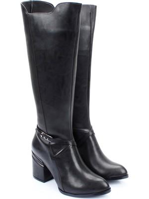 Gönderi® Sivri Burun Topuklu Fermuarlı Tokalı Kadın Günlük Çizme 38604