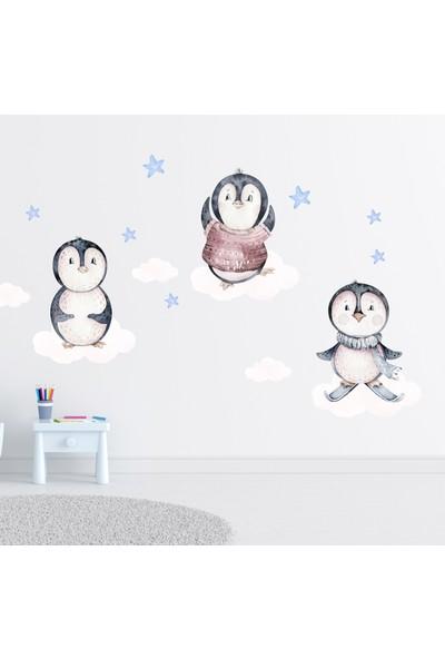 Sim Tasarım Sevimli Penguenler Duvar Sticker Seti