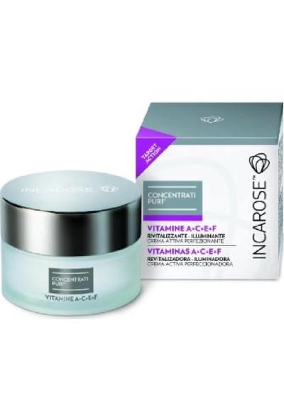 Incarose-Pure Solutıons® Vitamins A+C+E+F-Rejuvenating-Brightening-Aydınl. Bakım Krem 50 Ml.