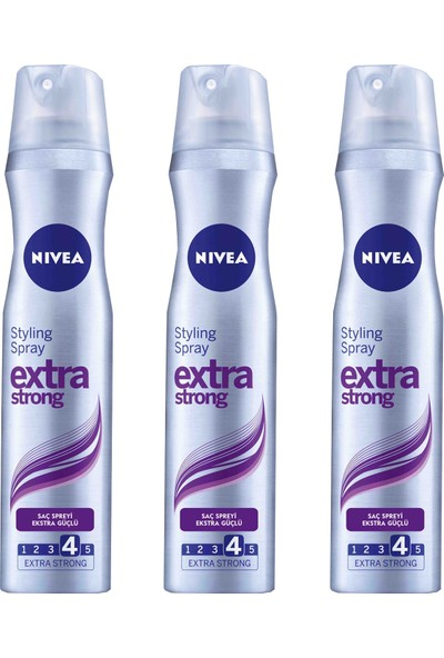 Nivea Saç Spreyi Extra Güçlü 4 Numara 250 ml x 3 Adet