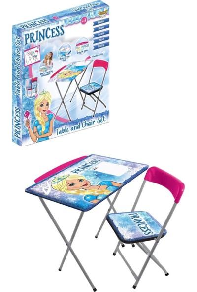 Furkan Toys Karlar Ülkesi Prenses Kız Çocuk Masa Sandalye Seti