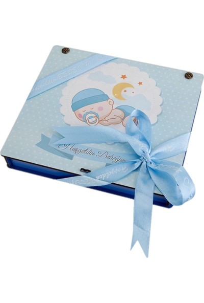 İnci Çikolata Ahşap Kutuda Erkek Bebek Çikolatası 140 gr