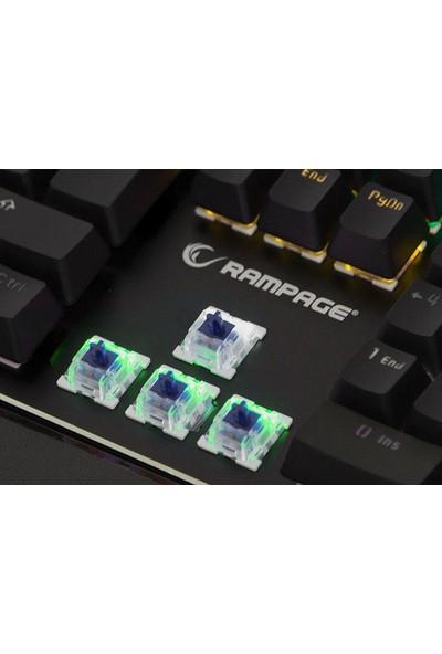 Rampage KB-R91 Optik Switch Gökkuşağı Ledli RGB Şeritli Metal Yüzey Mekanik Oyuncu Klavye