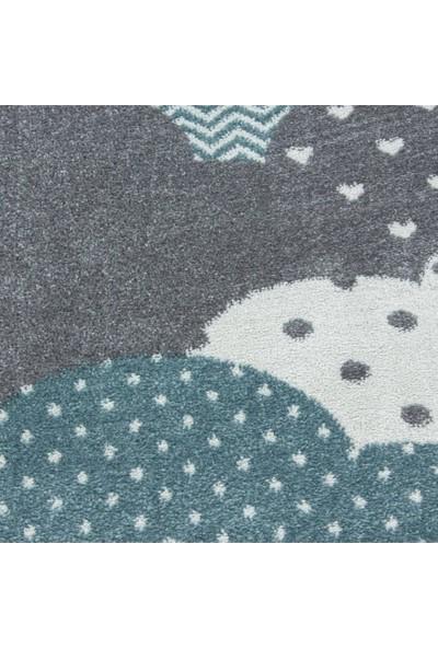 Ayyıldız Halı Çocuk Bebek Odası Halısı Bulut Desenli Halı Gri Mavi Beyaz
