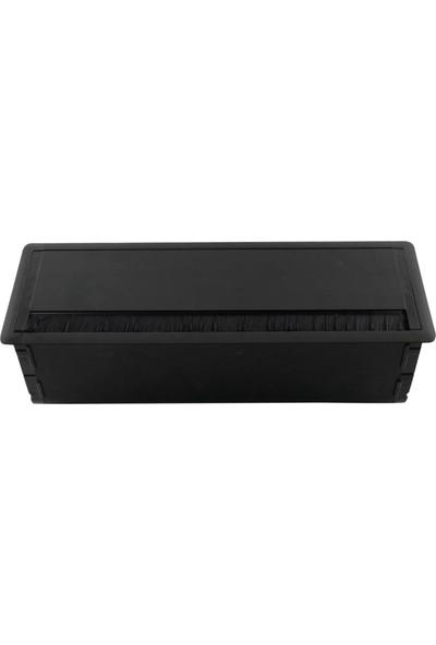 Dizaynaks Masa Üstü Bas-Aç Fırçalı Priz Seti Mat Siyah 12 Modül