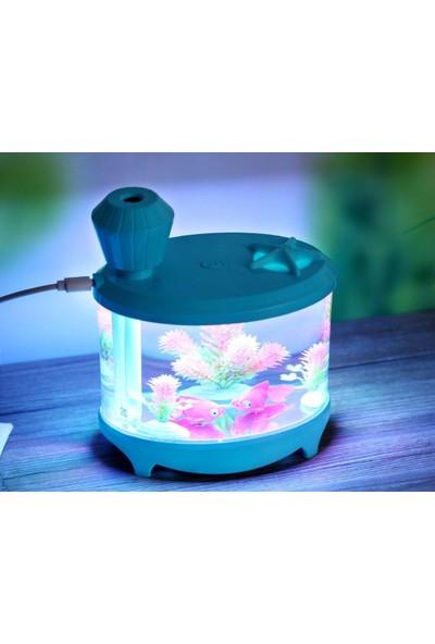İyitech Ultrasonik Akvaryum Model Mini Buhar Makinesi Bebek Odası Nemlendirici Mavi