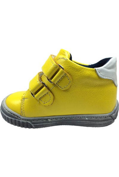 Özpınarcı Bebe Kız - Erkek Çocuk Bot Sarı-Beyaz 2 Cırtlı
