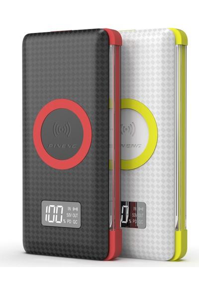 Pineng PN-888 10000 mAh Wireless PD 3.0 Yüksek Hızlı Dijital LED Göstergeli Powerbank - Beyaz