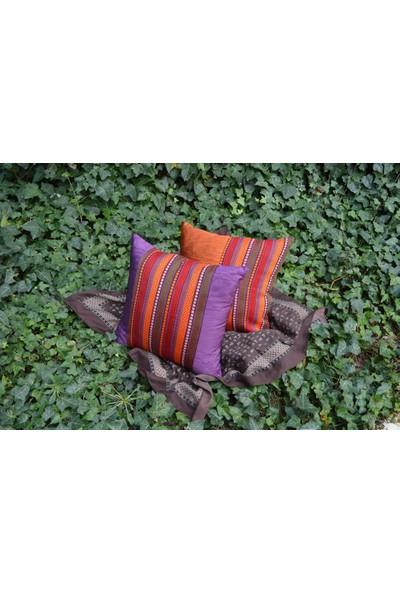Mutlu Gün Marketi Dekoratif Kırlent Kutnu Kumaş İkili Set