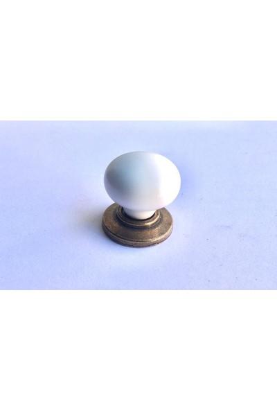 Venax Sıla Porselen Kulp Düğme Antik Sarı
