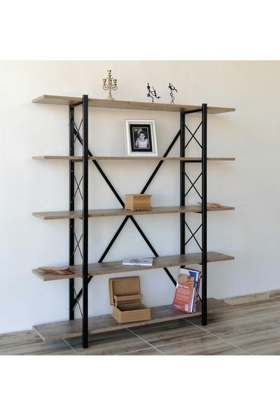 Metal Ahşap Kitaplık Raf Seti Ofis Büro K103