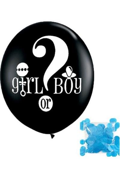 Buldum Cinsiyet Belirleme Balonu Mavi + Konfeti