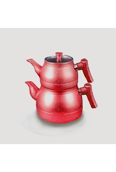 Starducks Kırmızı Bakalit Kulplu Granit Çaydanlık