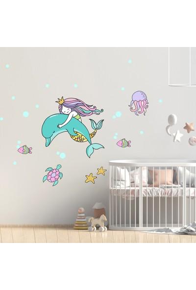 Sim Tasarım Deniz Kızı Duvar Sticker Seti