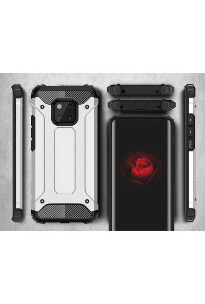 Tekno Grup Huawei Honor 8 Lite Kılıf Çift Katmanlı Darbe Emici Crash Tank Kılıf + Cam Ekran Koruyucu - Gold