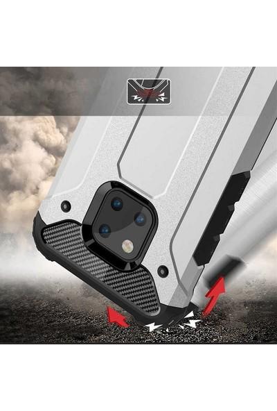 Tekno Grup Huawei Honor 8X Kılıf Çift Katmanlı Darbe Emici Crash Tank Kılıf + Nano Ekran Koruyucu - Kırmızı