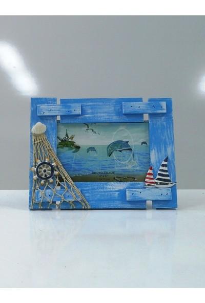 Sü-Me Ahşap Dümen Gemi Ağ Süslemeli Yatay Fotoğraf Resim Çerçeve 21 x 17 cm