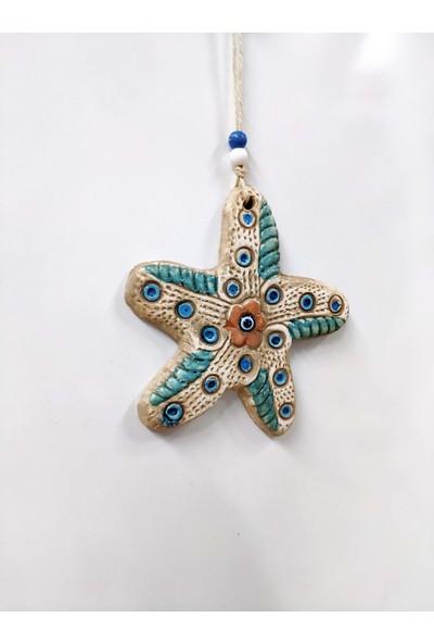 Sü-Me Seramik Mini Deniz Yıldızı Dekoratif Duvar Süsü 15 x 15 cm