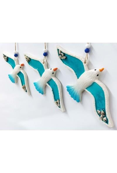 Sü-Me Deniz Kabuğu Süslemeli Polyester 3'lü Uçan Kuş Duvar Süsü