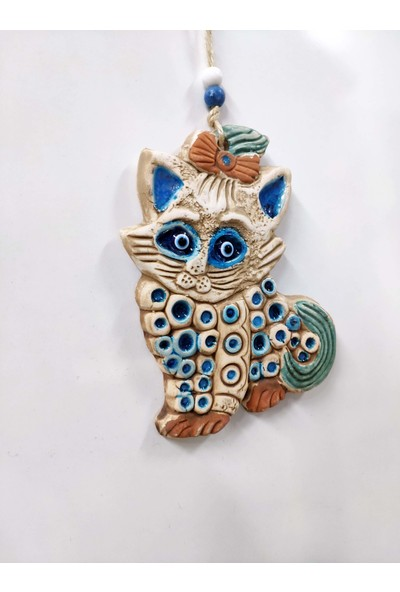 Sü-Me Seramik Mini Kedi Dekoratif Duvar Süsü 16 x 11 cm