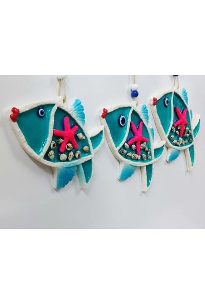 Sü-Me Deniz Kabuğu Süslemeli 3'lü Balık Duvar Süsü Nazarlık