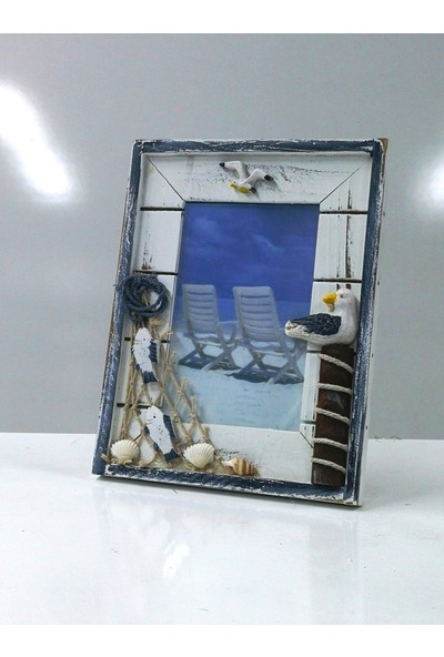 Sü-Me Ahşap Martı Ağ Balık Tasarımlı Dik Fotoğraf Resim Çerçeve 17 x 21 cm