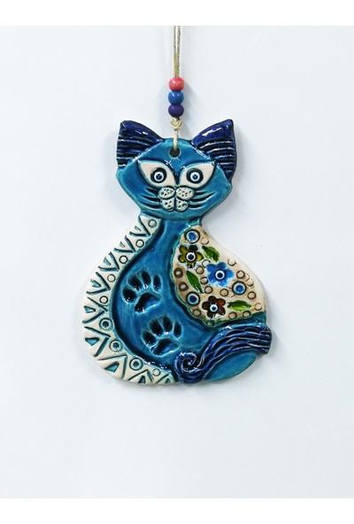 Sü-Me Mavi Kedi Figürlü Askılı Dekoratif Duvar Süsü Nazarlık