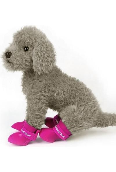 ANS Bantlı Köpek Ayakkabısı 4'lü Set Pembe 4,7 - 5,7 cm L