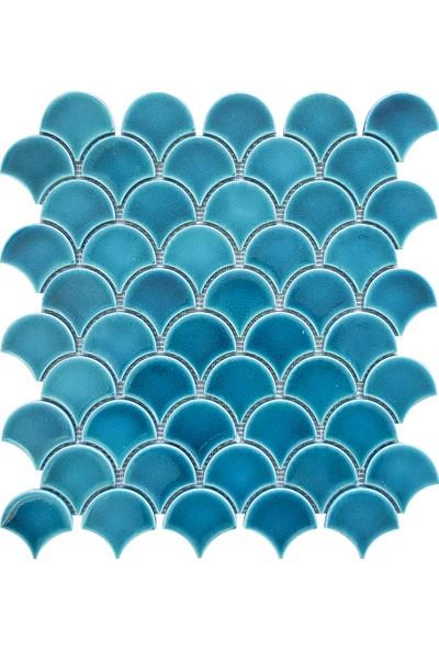 Armada Çini Pc 816 30X30 Krakle Turkuaz Balık Pulu Fileli Mozaik Iznik Porselen Çini