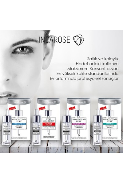 Incarose-Pure Solutıons® Vitamins A+C+E+F-Rejuvenating-Brightening-Canlandırıcı ve Aydınlatıcı Bakım Serumu 15 ml.