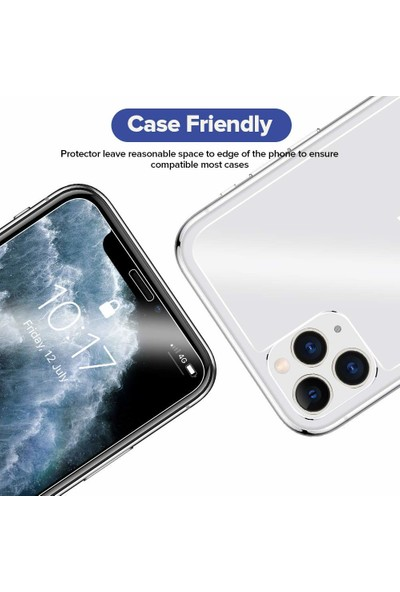 Case 4U Apple iPhone 11 Temperli Cam Ekran Koruyucu Şeffaf