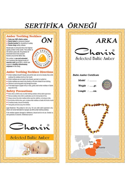 Chavin Kehribar Kolye Kız Erkek Çocuk Bebek Diş Kolyesi ED40