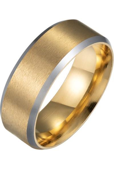 Chavin Mat Gold Sarı Bayan Erkek Çelik Yüzük Alyans ec44sr