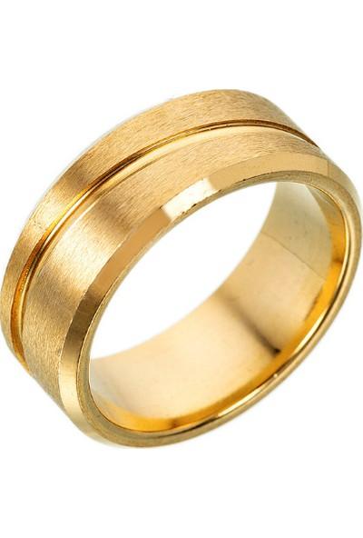 Chavin Mat Gold Sarı Bayan Erkek Çelik Yüzük ec45sr
