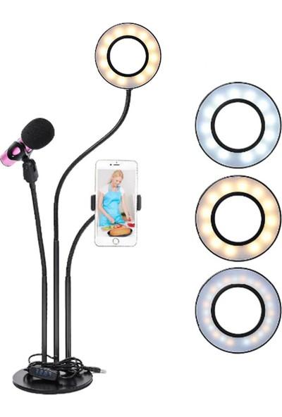 """Saywin Youtuber LED Selfie Tripod Telefon ve Mikrofon Tutuculu Canlı Yayın Işığı 3"""" Halka 70 cm"""