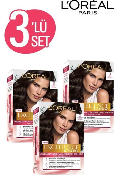 L'Oréal Paris Excellence Creme Saç Boyası 3 Koyu Kestane 3'lü Set