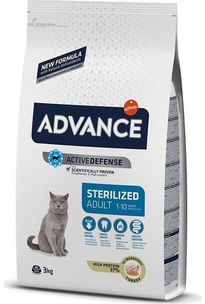 Advance Sterilized Hindili Kısırlaştırılmış Yetişkin Kedi Maması 3 Kg