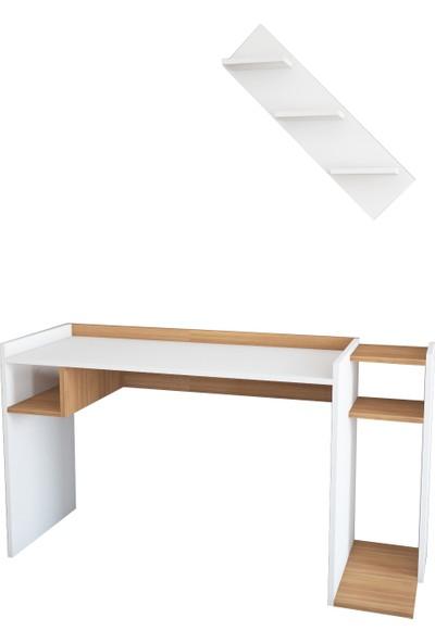Wood'n Love Laris Çalışma Masası - Beyaz / Teak