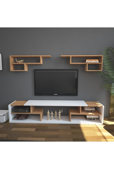 Wood'n Love Box Tv Ünitesi - Beyaz / Teak