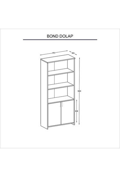 Wood'n Love Bond 2 Kapaklı Geniş Kitaplık - Beyaz / Antrasit