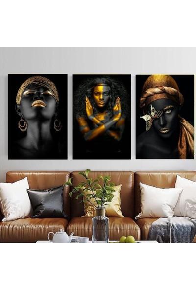 Deko Kanvas Afrikalı Kadın 3'lü Tablo 45 x 60 cm