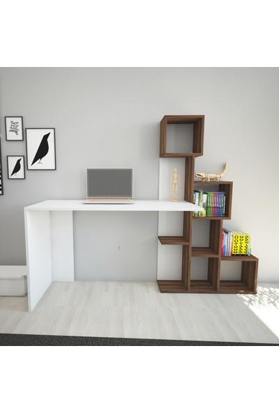 Wood'n Love Toprak Çalışma Masası - Beyaz / Ceviz