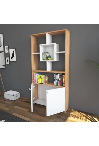 Wood'n Love Rüzgar Kitaplık - Beyaz / Teak