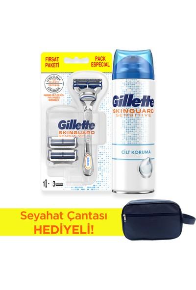 Gillette Skinguard Tıraş Makinesi + 3lü Yedek Bıçak + 250 ml Traş Jeli + Çanta Hediyeli