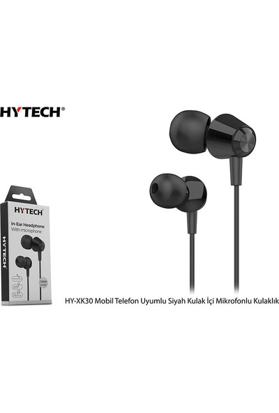 Hytech HY-XK30 Mobil Uyumlu Siyah Kulak İçi Mikrofonlu Kulaklık